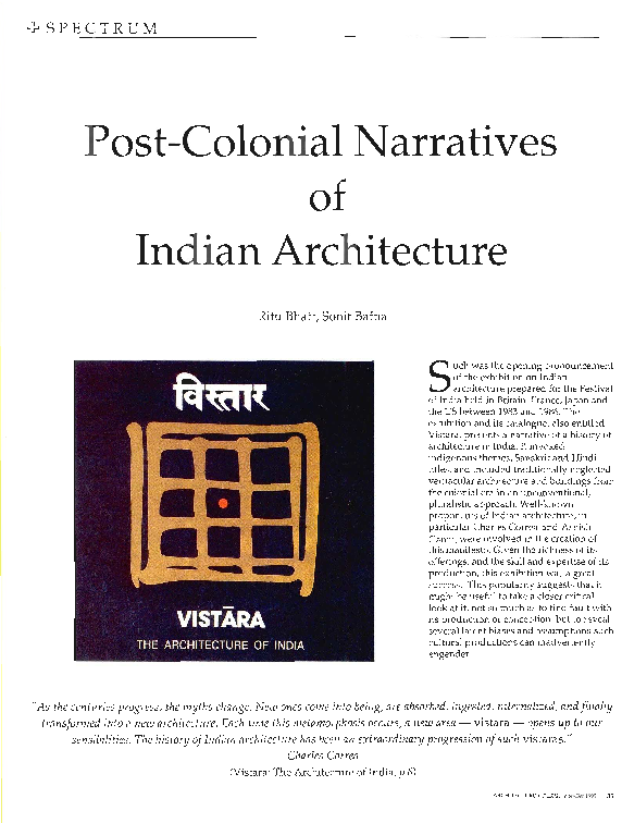 PDF) Post-Colonial Narratives of Indian Architecture | Sonit