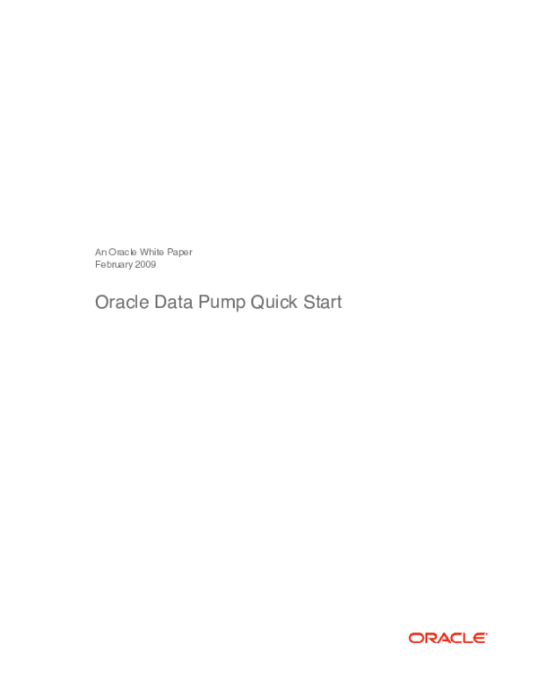 PDF) Oracle Data Pump Quick Start | Achim Schwarz - Academia edu
