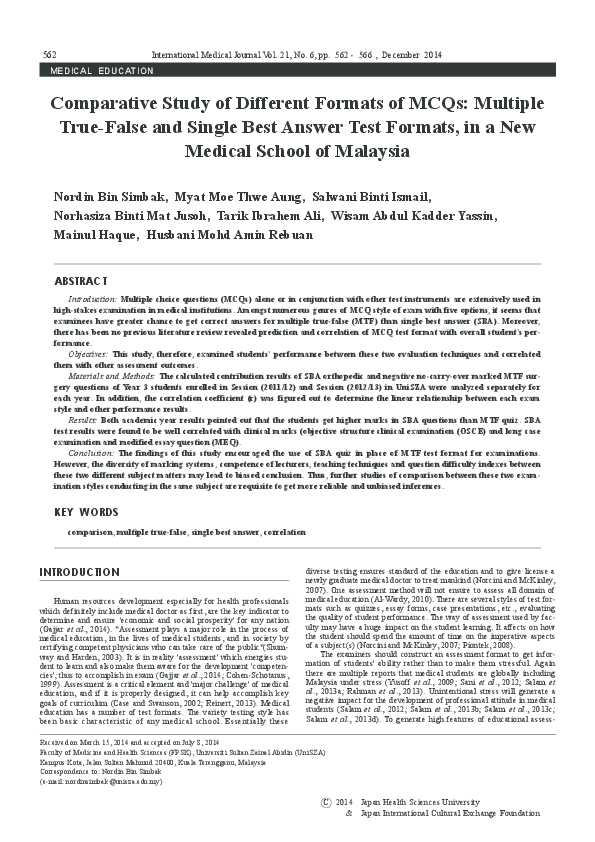 PDF) Comparative Study of Different Formats of MCQs: Multiple True