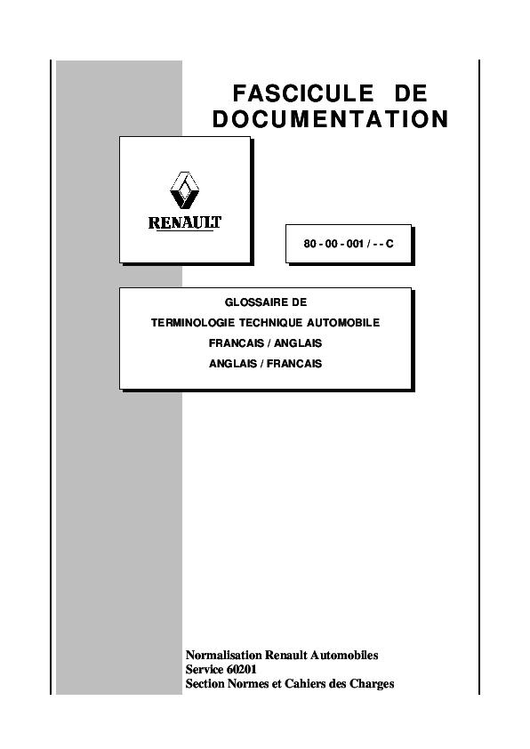 9f732e0e8b2e Normalisation Renault Automobiles Service 60201 Section Normes et ...