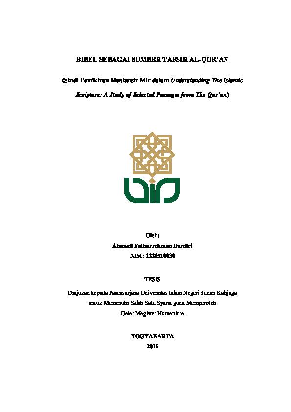 Pdf Tesis Bibel Sebagai Sumber Penafsiran Al Quran