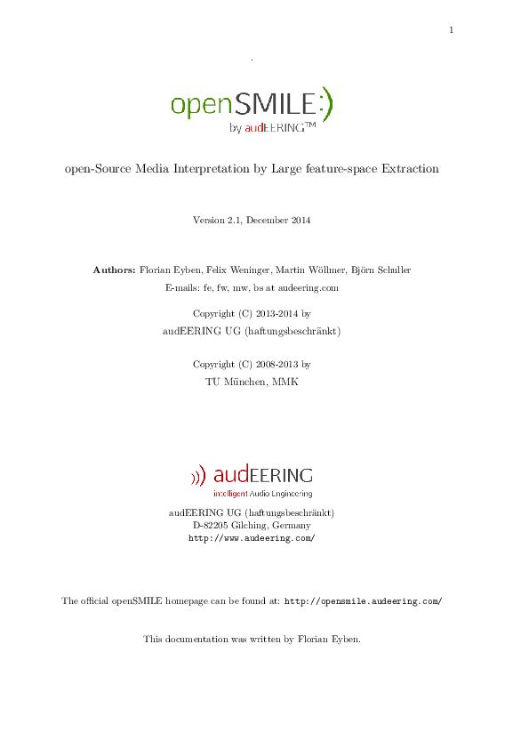 PDF) openSMILE Guide | Sai Prashaanth - Academia edu