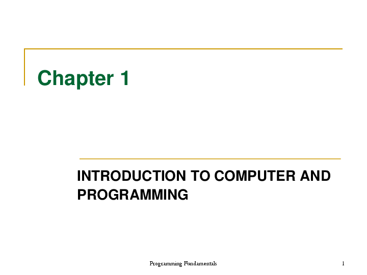 PDF) Programming Fundamentals Chapter 1 INTRODUCTION TO