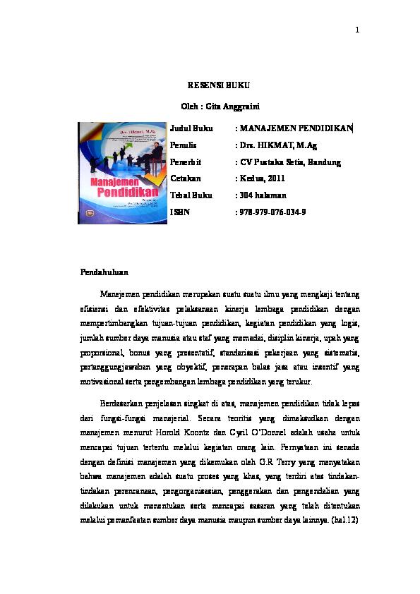 Doc Manajemen Pendidikan Resensi Buku Gita Anggraini Academia Edu