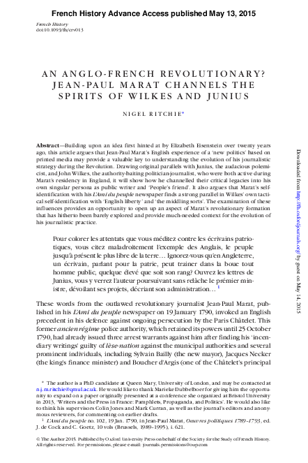 Pdf An Anglo French Revolutionary Jean Paul Marat Channels