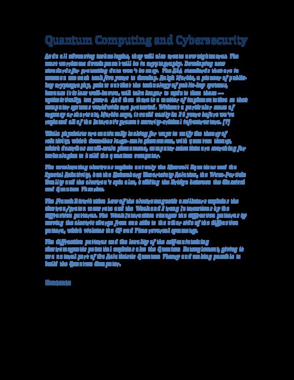 PDF) Quantum Computing and Cybersecurity | George Rajna