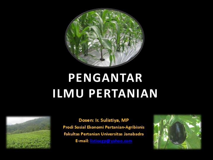 Pdf Pengantar Ilmu Pertanian Jurnal Pertanian Agros Academiaedu