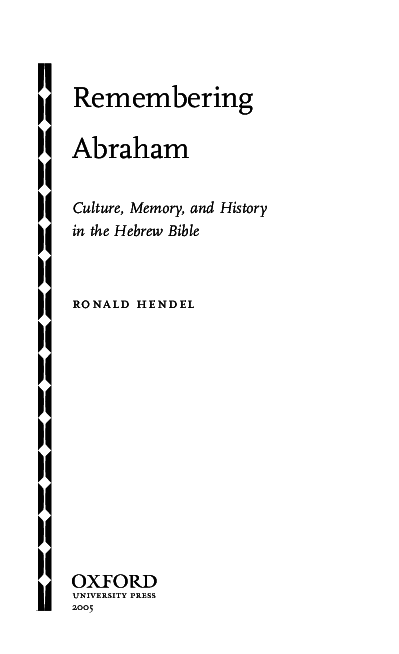 PDF) Remembering Abraham: Culture, Memory, and History in the Hebrew
