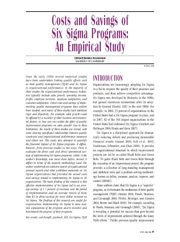 PDF) Costs and Savings of Six Sigma Programs: An Empirical