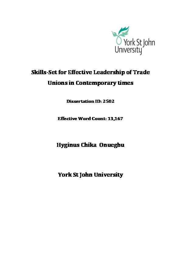 21eab0e6ffad76 PDF) Skill-Set for Effective Leadership of Trade Unions in ...