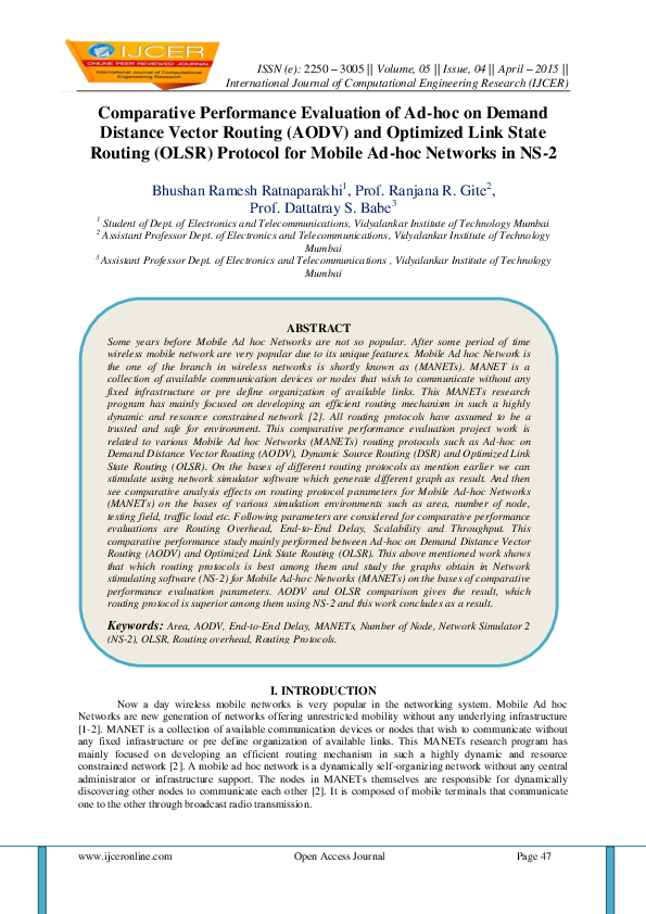 PDF) Comparative Performance Evaluation of Ad-hoc on Demand Distance