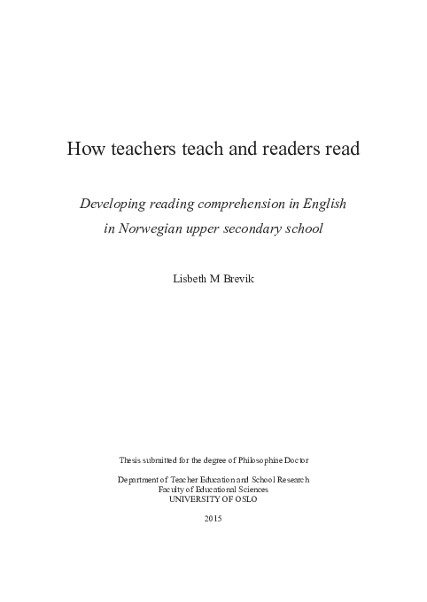 PDF) How teachers teach and readers read  Developing reading