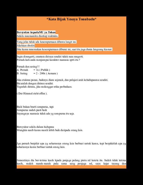 Doc Kata Bijak Yesaya Tonubadu Yesaya Tonubadu Academiaedu