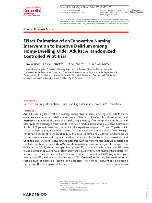 PDF) Effect estimation of an innovative nursing intervention