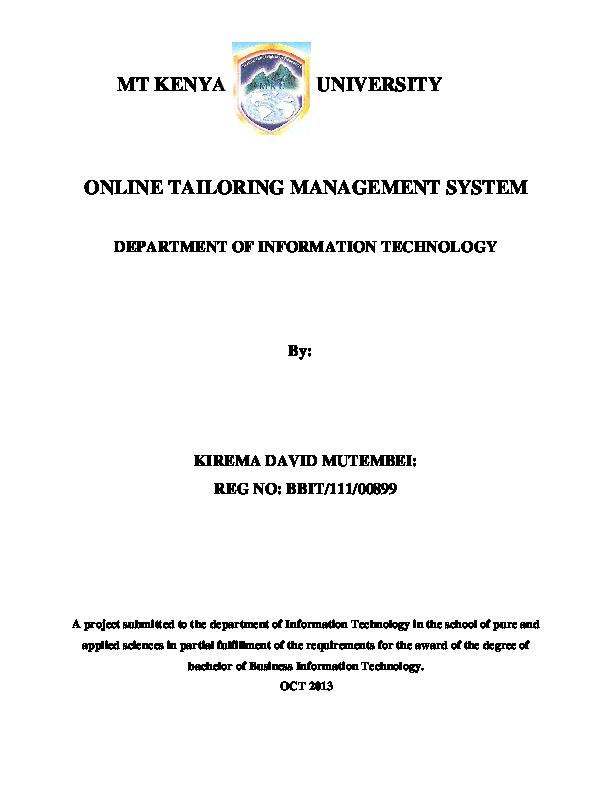 PDF) ONLINE TAILORING MANAGEMENT SYSTEM | David Mutembei