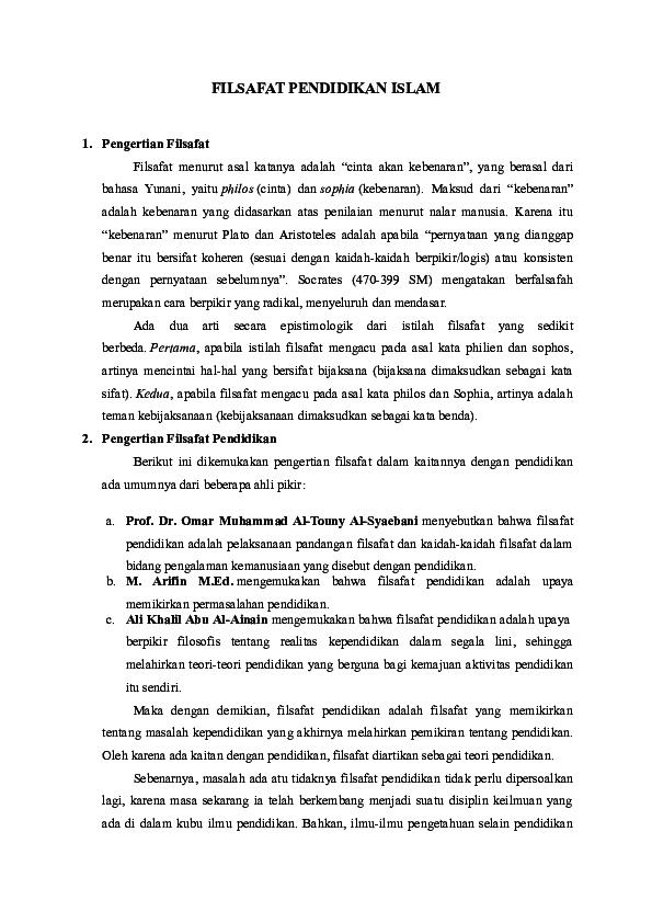 Doc Filsafat Pendidikan Islam Teguh Prasetyo Academia Edu
