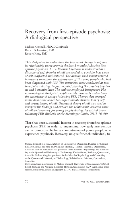 First Psychotic Episode Why Early >> Pdf Recovery From First Episode Psychosis A Dialogical Perspective