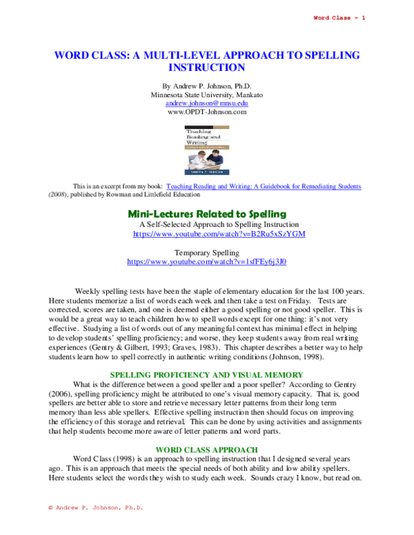 PDF) SPELLING INSTRUCTION: A MULTI-LEVEL APPROACH | Andrew