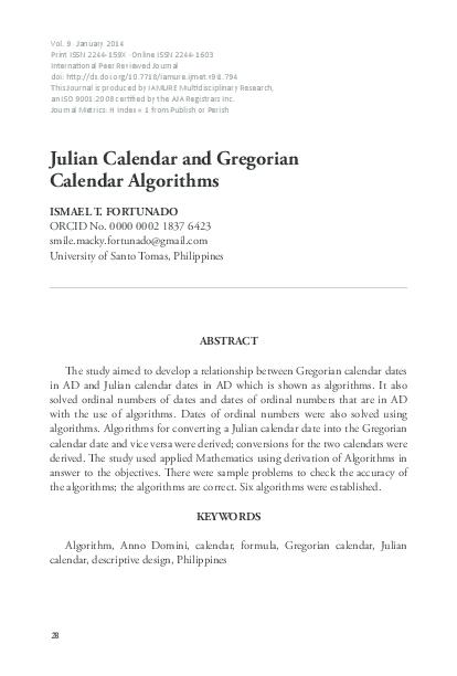 Julian Calendar And Gregorian Calendar Algorithms Ismael T