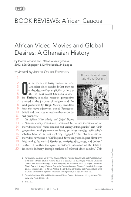 PDF) African Video Movies and Global Desires: A Ghanaian