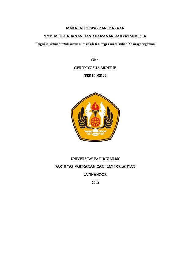 Doc Makalah Kewarganegaraan Sistem Pertahanan Dan Keamanan Gerry Yosua Academia Edu