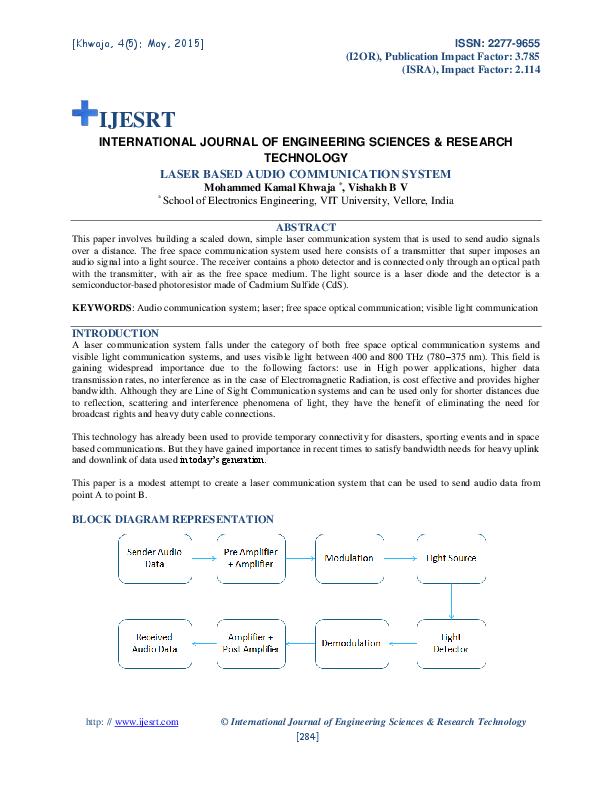 PDF) LASER BASED AUDIO COMMUNICATION SYSTEM   IJESRT Journal