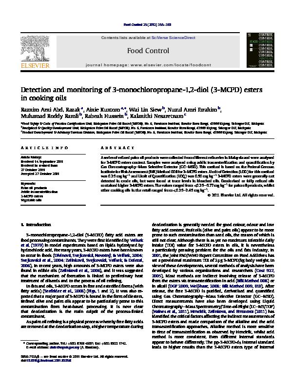 PDF) Detection and monitoring of 3-monochloropropane-1,2 ...