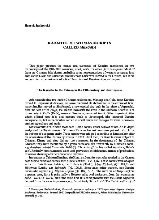 Pdf Karaites In Two Manuscripts Called Mejuma Henryk Jankowski