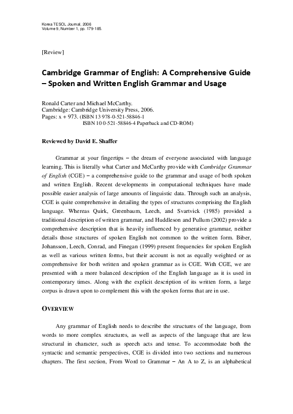 Cambridge Grammar Of English A Comprehensive Guide Pdf