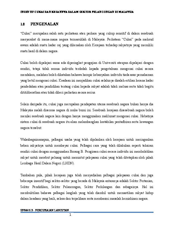 Doc Insentif Cukai Dan Kesannya Dalam Sektor Pelancongan Di Malaysia Nor Atiqah Nadia Wahab Academia Edu