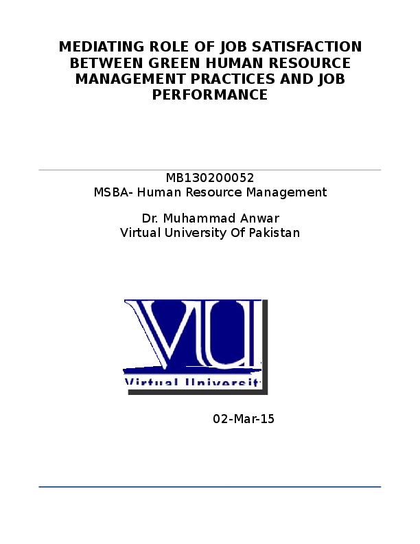 Dissertation proposal on performance management