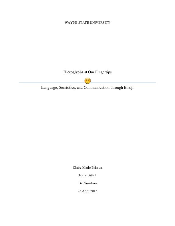 PDF) Hieroglyphs at Our Fingertips: Language, Semiotics, and