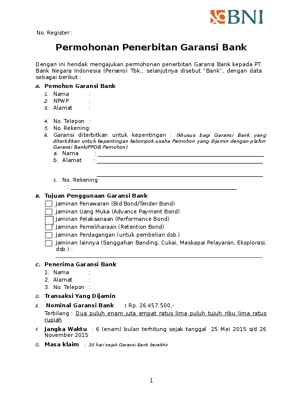 Doc Permohonan Penerbitan Garansi Bank Aminah Azahra Academia Edu