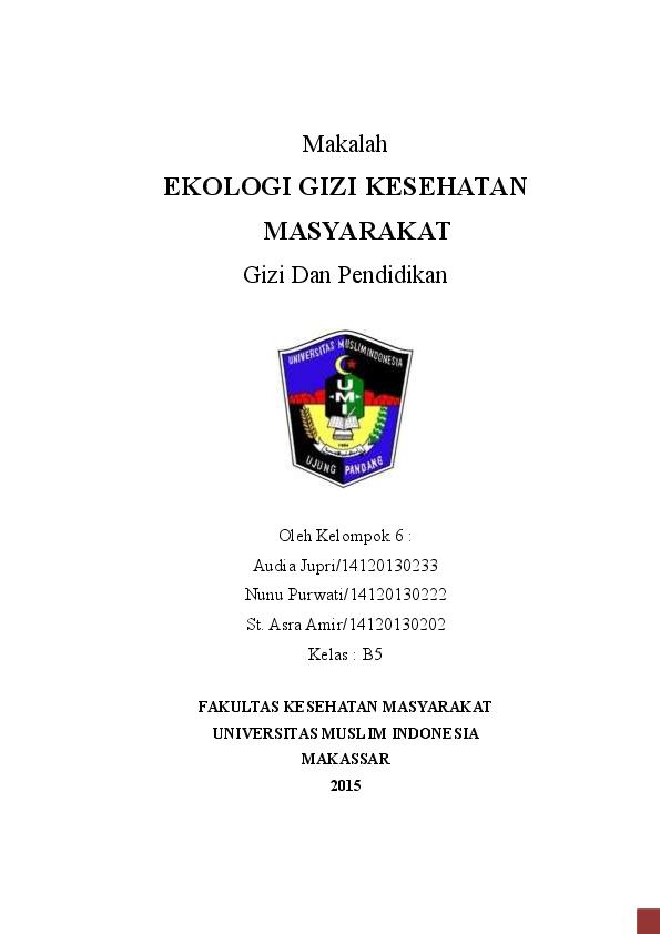 Pdf Makalah Gizi Dan Pendidikan Ekologi Kesehatan Masyarakat St Asra Amir Academia Edu