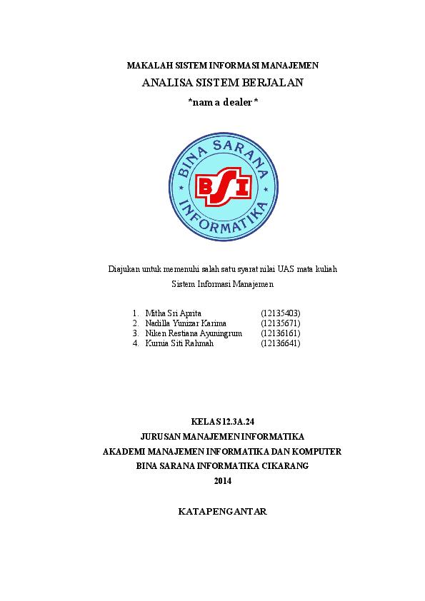 Doc Makalah Sistem Informasi Manajemen Analisa Sistem Berjalan Pada Dealer Nadilla Yunizar Karima Academia Edu