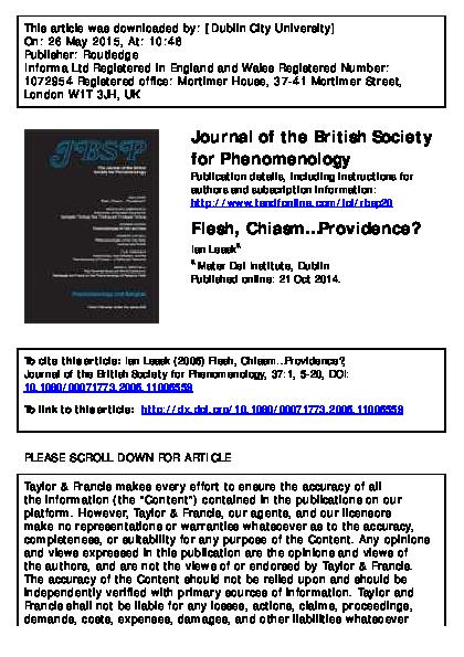 PDF) Flesh, Chiasm    Providence? | Ian Leask - Academia edu