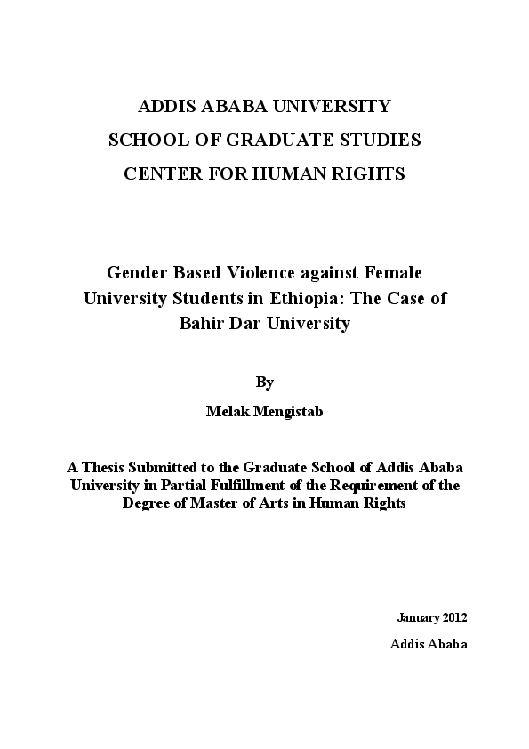 PDF) Gender Based Violence Against Female University Students in