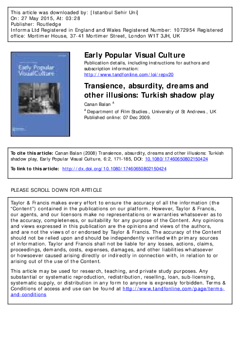 PDF) Transience, absurdity, dreams and other illusions: Turkish
