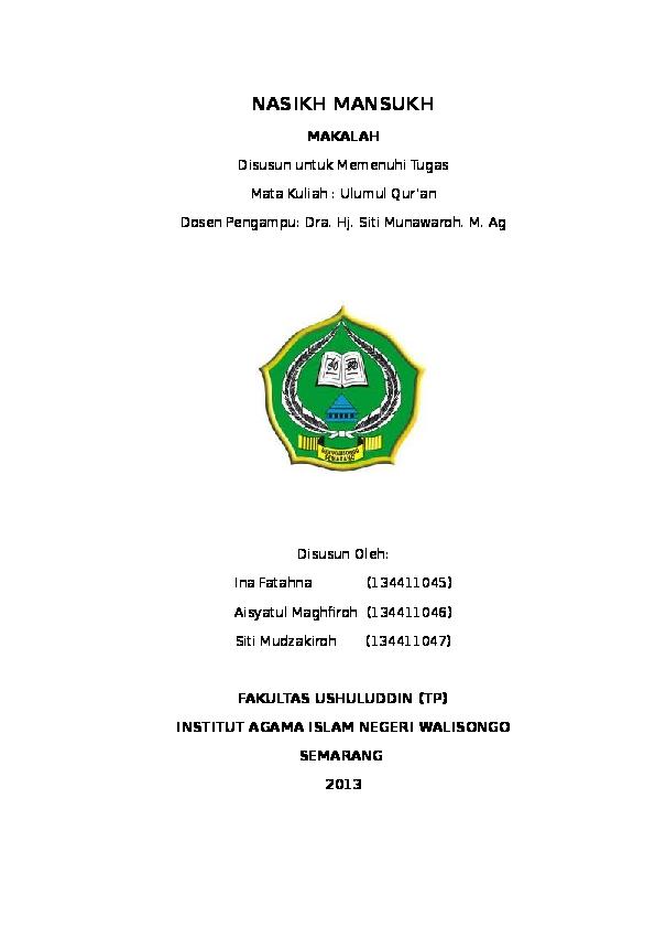 Doc Makalah Naskh Mansukh Ushul Fiqh Aisyatul Maghfiroh Academia Edu
