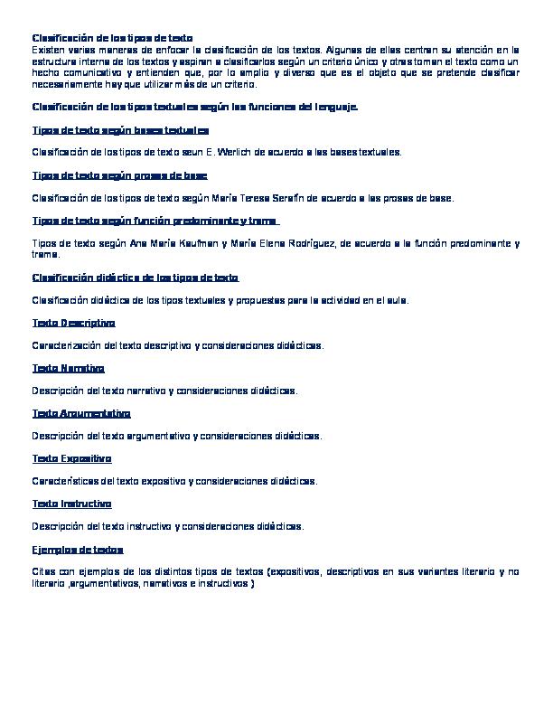 Doc Clasificacion De Los Tipos De Texto Kenny Gomez