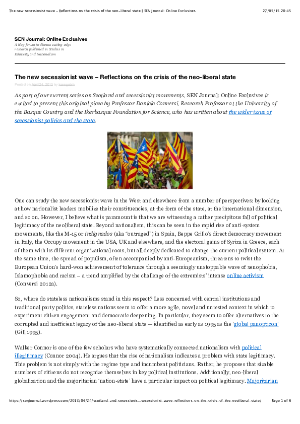 PDF) The new secessionist wave – Reflections on the crisis of the