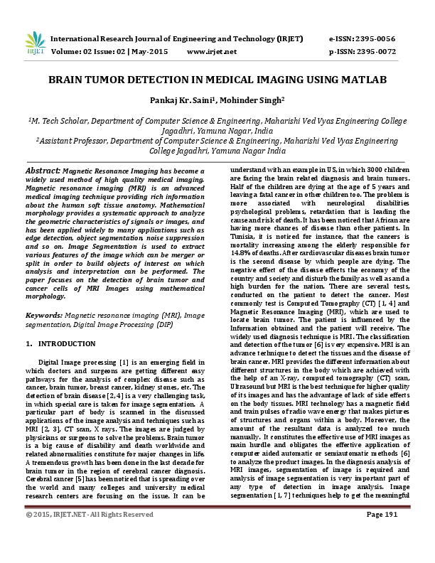 PDF) IRJET-BRAIN TUMOR DETECTION IN MEDICAL IMAGING USING MATLAB