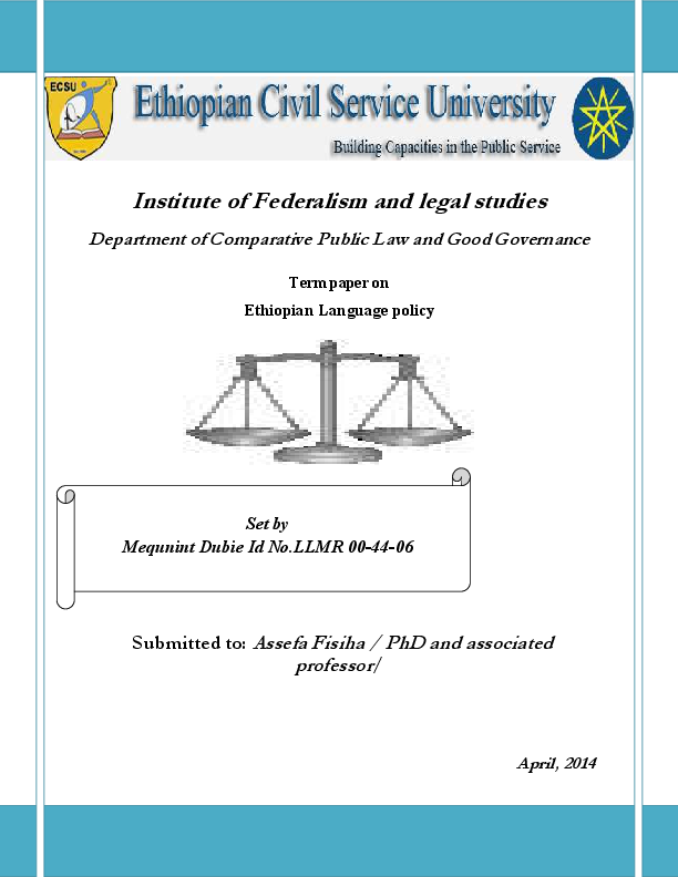 language policy in Ethiopia | Mequanint Dubie - Academia edu