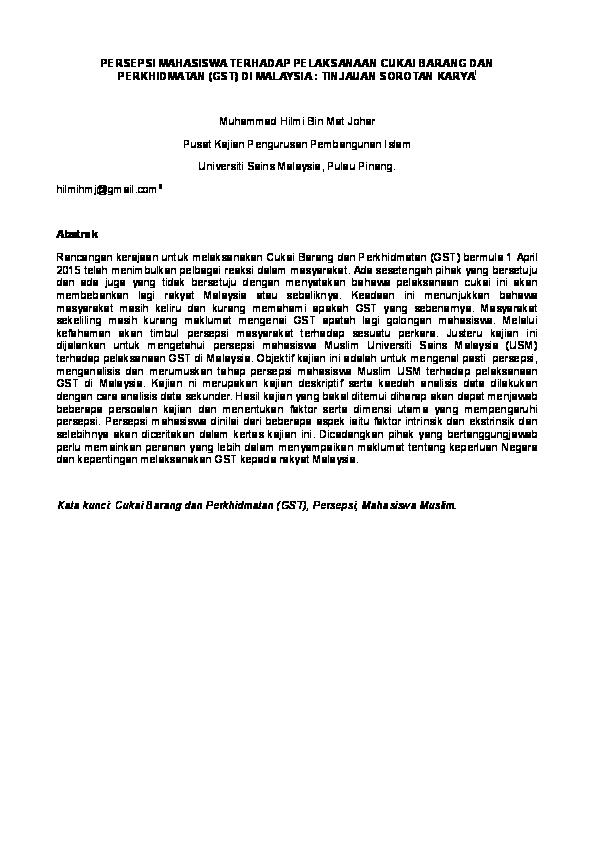 Doc Persepsi Mahasiswa Terhadap Pelaksanaan Cukai Barang Dan Perkhidmatan Gst Di Malaysia Tinjauan Sorotan Karya1 Muhammad Hilmi Academia Edu