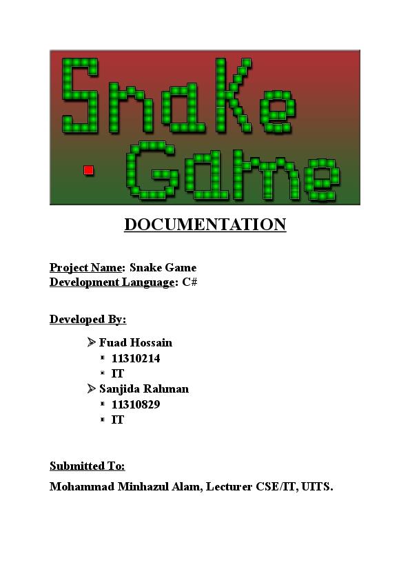 DOC) Snake game documentation   fuad hossain - Academia edu