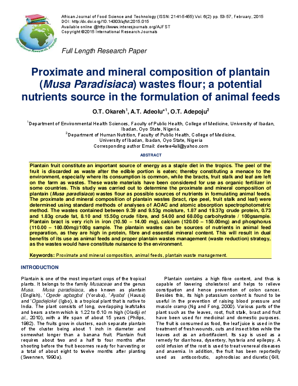 PDF) Proximate and mineral composition of plantain (Musa