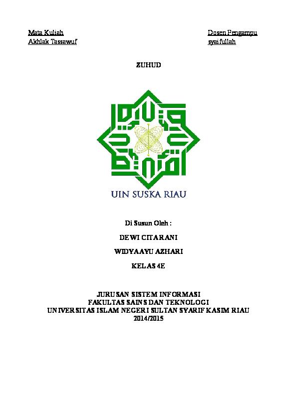 Makalah Zuhud Widya Sif Academia Edu