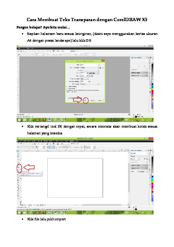 (PDF) Cara Membuet Teks Transparan dengan CorelDRAW X5 ...