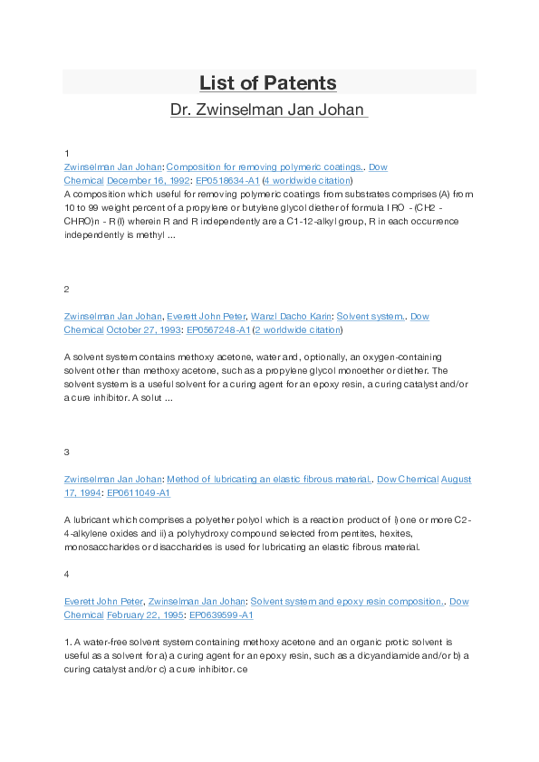PDF) List of Patents | jan zwinselman - Academia edu