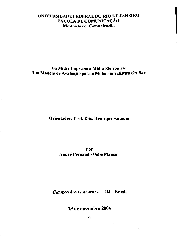 PDF) Da Mídia Impressa à Mídia Eletrônica: Um modelo de avaliação